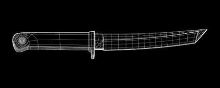 Cuchillo bowie de supervivencia de caza de combate táctico de hoja. Ilustración de vector de malla de polietileno baja de estructura metálica modelo