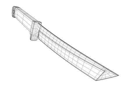 Blade tactical combat hunting survival bowie knife. Model wireframe low poly mesh vector illustration Stock fotó - 120290601