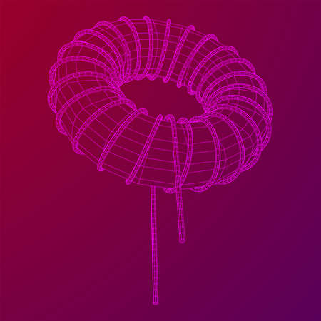 Toroidal Coil Inductor wireframe low poly mesh vector illustration Ilustrace