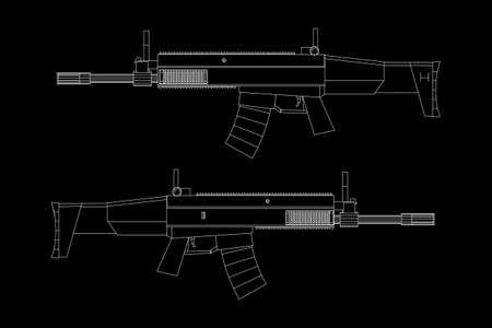 Fusil d'assaut, modèle de fusil à incendie automatique wireframe low poly mesh vector illustration