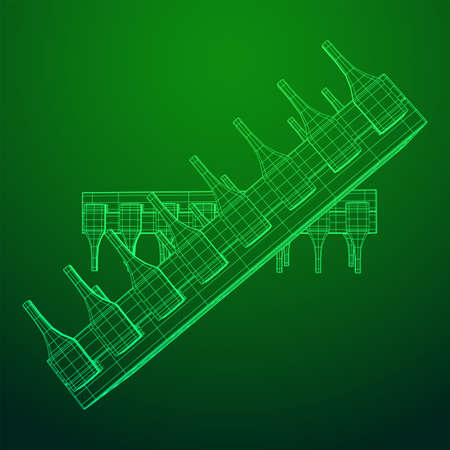 Microchip quantum processor, micro-processor with board electronic CPU wireframe low poly mesh vector illustration