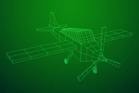 Plane Abstract polygonal wireframe airplane. Travel aircraft, tourism and vacation concept. Wireframe low poly mesh vector illustration Illustration