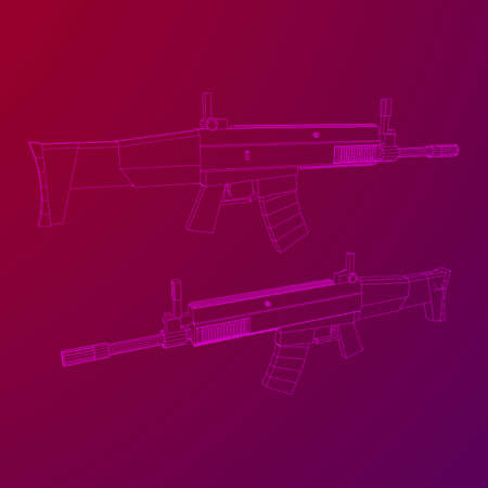 Assault rifle, automatic fire rifle model wireframe low poly mesh vector illustration Illustration