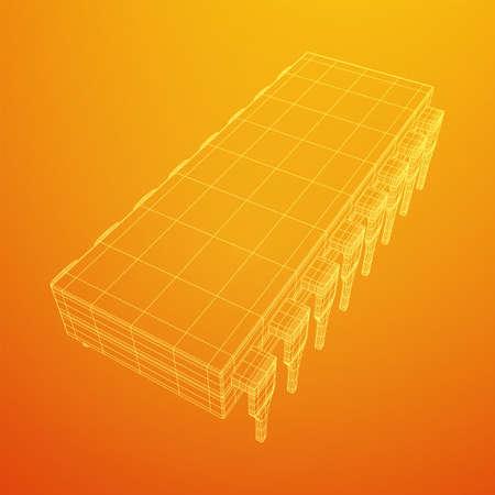 Microchip quantum processor, micro-processor with board electronic CPU wireframe low poly mesh vector illustration Vektorgrafik