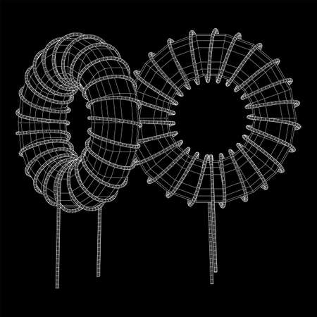 Toroidal Coil Inductor wireframe low poly mesh vector illustration Illustration