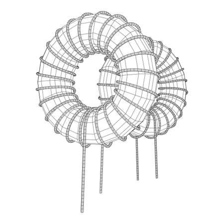 Toroidal Coil Inductor wireframe low poly mesh vector illustration 向量圖像