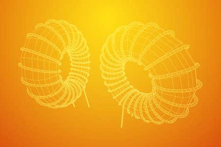 Toroidal Coil Inductor wireframe low poly mesh vector illustration Vektoros illusztráció