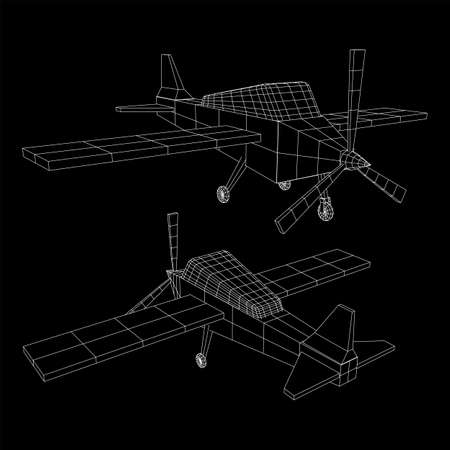 Plane Abstract polygonal wireframe airplane. Travel aircraft, tourism and vacation concept. Wireframe low poly mesh vector illustration Ilustrace