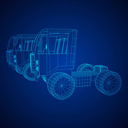 Truck or lorry car. Cargo vehicle model wireframe low poly mesh vector illustration