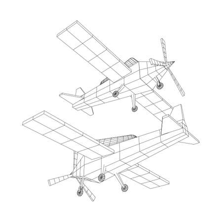 Plane Abstract polygonal wireframe airplane. Travel aircraft, tourism and vacation concept. Wireframe low poly mesh vector illustration Ilustração