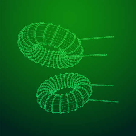 Toroidal Coil Inductor wireframe low poly mesh vector illustration Vector Illustration