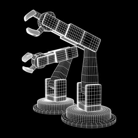 Robotic arm manufacture technology industry assembly mechanic hand wireframe low poly mesh vector illustration