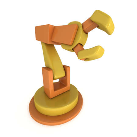 Robotic arm manufacture technology industry assembly mechanic hand 3d render isolated on white background Stock Photo