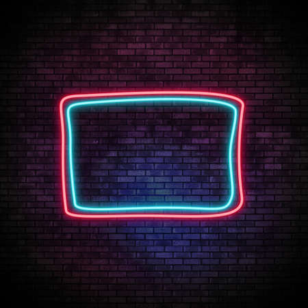 Neon Frame Light on Brick Wall. Night Club Bar Blinking Neon Sign. 3d render