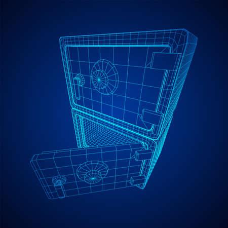 Metal bank safe. Wireframe low poly mesh vector illustration