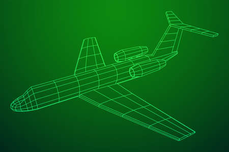 Private Jet Plane Abstract polygonal wireframe business luxury twin engine airplane. Travel aircraft, tourism and vacation concept. Wireframe low poly mesh vector illustration Illustration