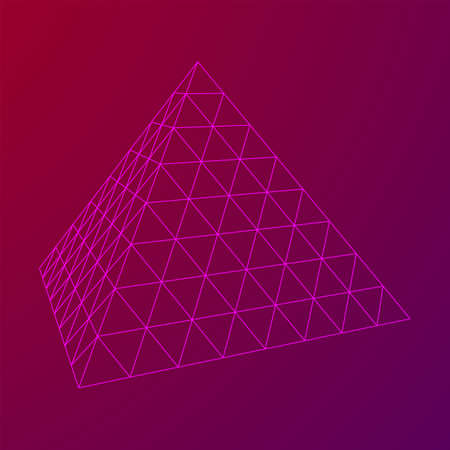Pyramid molecular grid technology style. Futuristic connection structure for chemistry and science. Wireframe low poly mesh vector illustration Vectores