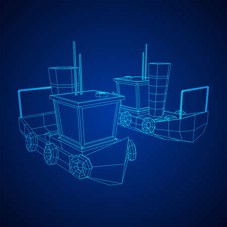 Fishing boat. Commercial fishing trawler for industrial seafood production. Vintage marine ship, sea or ocean transportation concept. Wireframe low poly mesh vector illustration