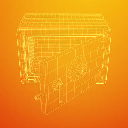 Metal bank vault safe. Wireframe low poly mesh vector illustration Çizim