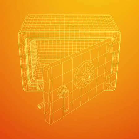 Metal bank vault safe. Wireframe low poly mesh vector illustration Illustration