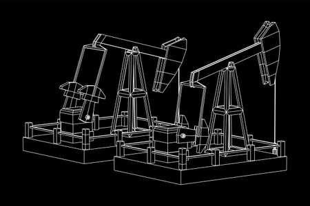 Oil well rig jack. Finance economy polygonal petrol production. Petroleum fuel industry pumpjack derricks pumping drilling. Wireframe low poly mesh vector illustration 写真素材 - 127774317