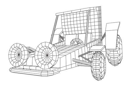 Off road dune buggy car. Terrain vehicle. Outdoor car racing, extreme sport oncept. Wireframe low poly mesh vector illustration