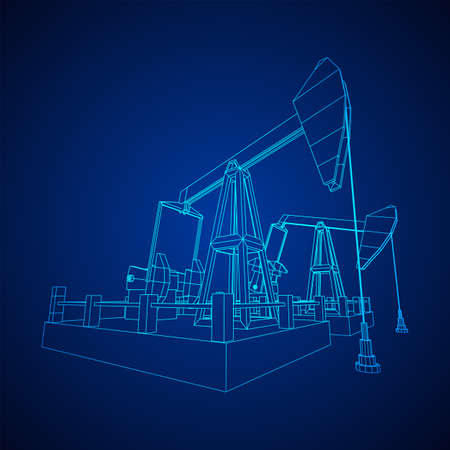 Oil well rig jack. Finance economy polygonal petrol production. Petroleum fuel industry pumpjack derricks pumping drilling. Wireframe low poly mesh vector illustration