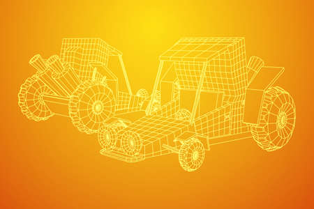Off road dune buggy car. Terrain vehicle. Outdoor car racing, extreme sport concept. Wireframe low poly mesh vector illustration