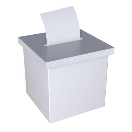 Maquette de campagne de scrutin dans l'urne électorale vierge. Casting vote concept rendu 3D isolé sur fond blanc