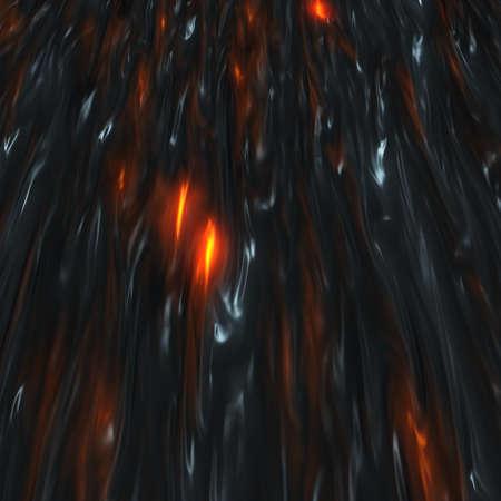 Volcanic infernal hot molten lava. Magma floating somewhere. 3d render illustration Banco de Imagens