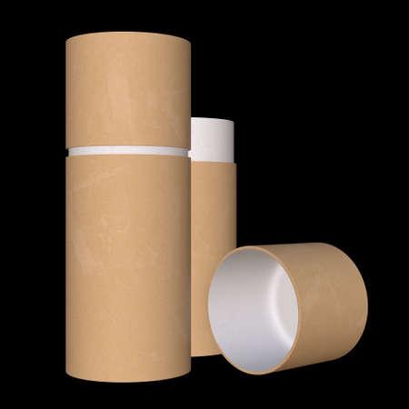 Kraft paper cardboard tube package mock up. 3d render on black background. Zdjęcie Seryjne