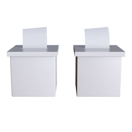 Blank election box ballot campaign mockup. Casting vote concept 3d render isolated on white background