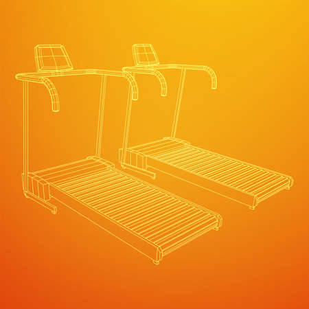 Treadmill machine. Gym and fitness equipment. Wireframe low poly mesh vector illustration.