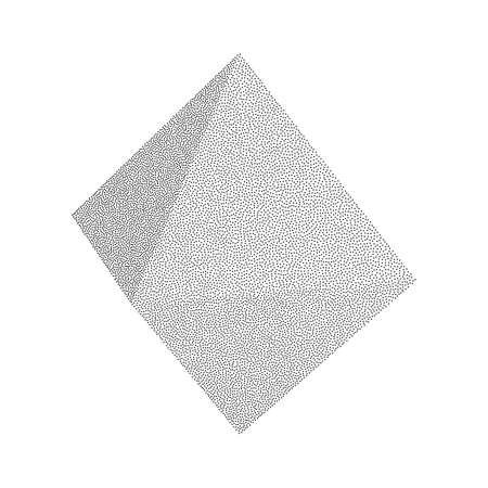 Dotwork Halftone low poly style geometrical Polyhedron Tetrahedron Shape on white background. Engraving Vector Illustration.