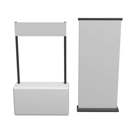 Stall or Kiosk Modern Promostand Reception Desk with Roll up. Trade show booth white and blank. 3d render illustration isolated on white background. Template mockup for your expo design. Imagens