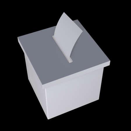 Blank election box ballot campaign mockup. Casting vote concept 3d render on black background