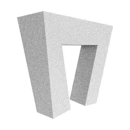 Dotwork Halftone low poly style geometrical object on white background. Engraving Vector Illustration. Иллюстрация