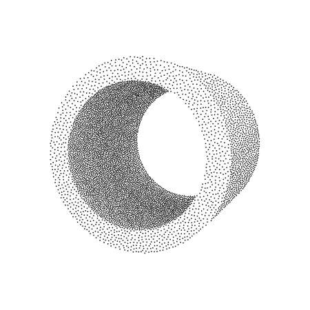 Dotwork Halftone low poly style geometrical object tube. Engraving Vector Illustration.