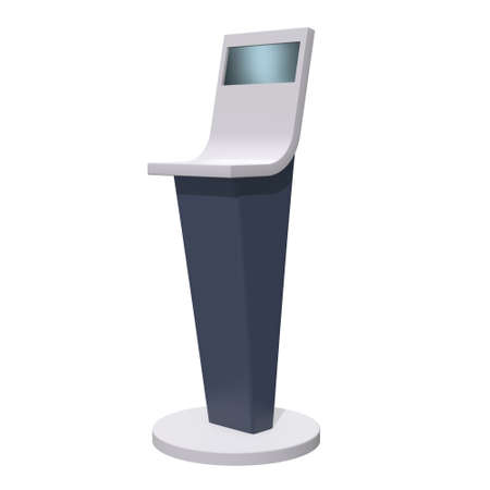 LCD Screen Stand. Trade Show Booth. 3d render of tv info kiosk isolated on white background. High Resolution. Ad template for your expo design. Banco de Imagens