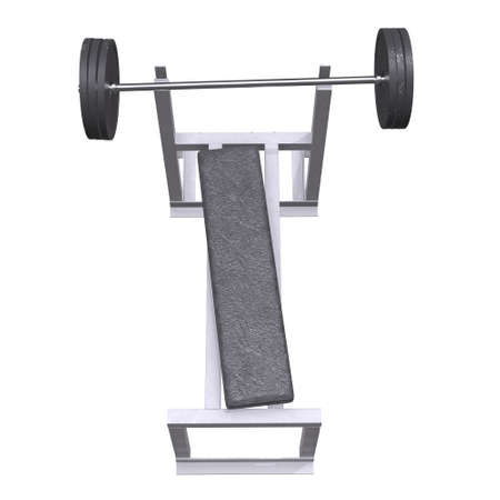 Barbell with weights. Gym equipment. Bodybuilding powerlifting fitness concept. 3d render illustration isolated on white background. Banco de Imagens