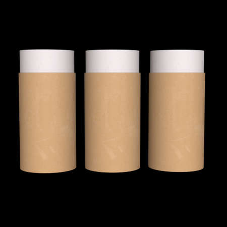 Kraft paper cardboard tube package mock up. 3d render on black background. 写真素材