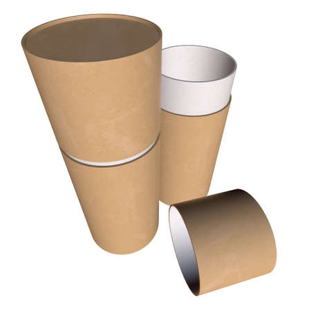 Kraft paper cardboard tube package mock up. 3d render isolated on white background.
