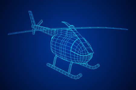 Helicopter aircraft vehicle. Wireframe low poly mesh vector illustration. Archivio Fotografico - 129640458