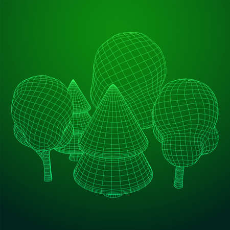 Mesh image of trees. Low poly background. Eco vector. Wireframe low poly mesh vector illustration 일러스트