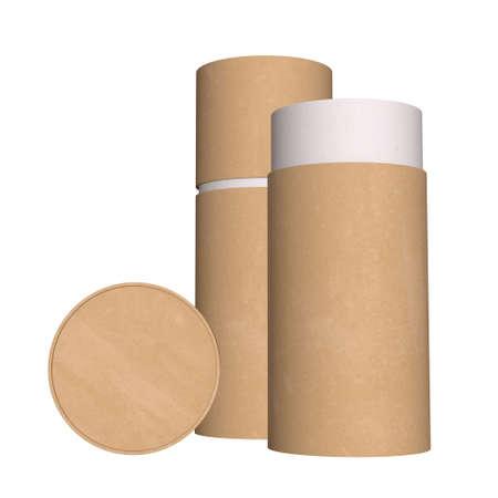 Kraft paper cardboard tube package mock up. 3d render isolated on white background.