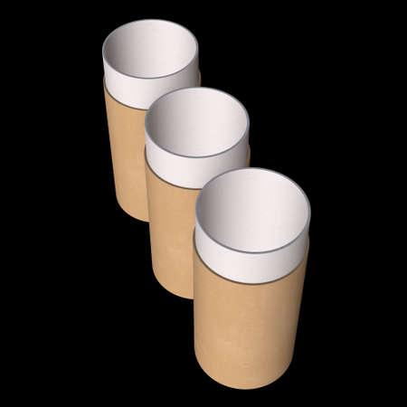 Kraft paper cardboard tube package mock up. 3d render on black background. Stockfoto