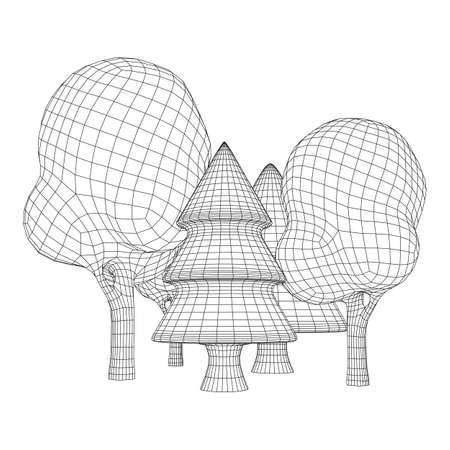 Mesh image of trees. Low poly background. Eco vector. Wireframe low poly mesh vector illustration Ilustracja