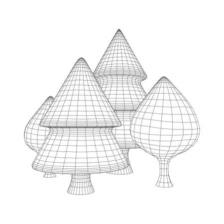 Mesh image of trees. Low poly background. Eco vector. Wireframe low poly mesh vector illustration 向量圖像