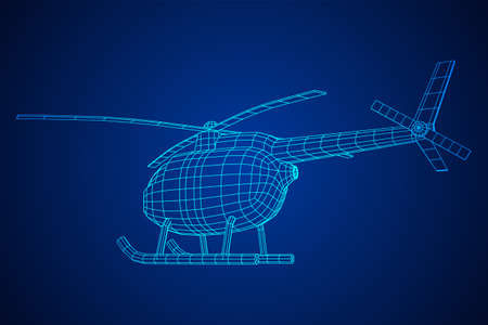 Helicopter aircraft vehicle. Wireframe low poly mesh vector illustration. Archivio Fotografico - 129747782