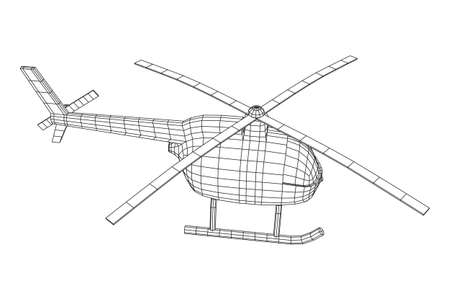 Helicopter aircraft vehicle. Wireframe low poly mesh vector illustration. Archivio Fotografico - 129747783